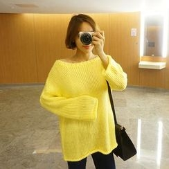 STYLEBYYAM - Round-Neck Drop-Shoulder Knit Top