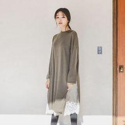 JUSTONE - Slit-Side Wool Blend T-Shirt Dress