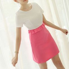 Q.C.T - Short-Sleeve Color Block Dress