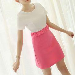 Q.C.T - 短袖插色連衣裙