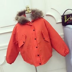 RUI - Furry Hooded Padded Jacket