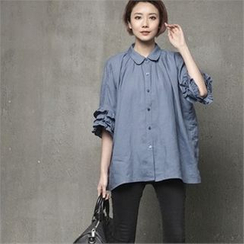 HALUMAYBE - Raglan-Sleeve Ruffle-Trim Blouse