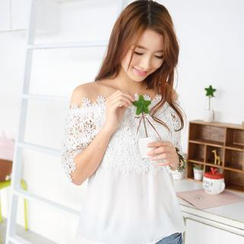 59 Seconds - Crochet Overlay Off-Shoulder Top
