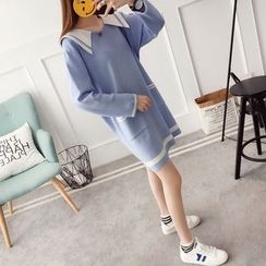 Qimi - Sailor Collar Long-Sleeve Knit Dress