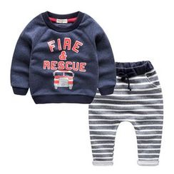Kido - Kids Set: Printed Sweatshirt + Striped Harem Sweatpants