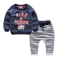 Kido - 童裝套裝: 印花衛衣 + 條紋哈倫褲運動褲