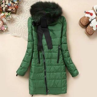 Flower Idea - Faux Fur-Trim Side-Zip Down Coat