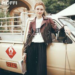 MOFFI - Panel Faux Leather Biker Jacket