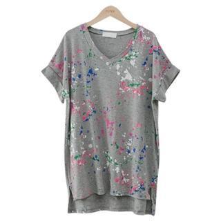 PEPER - V-Neck Paint-Splattered T-Shirt