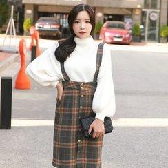 Cherryville - Button-Front Check Suspender Skirt