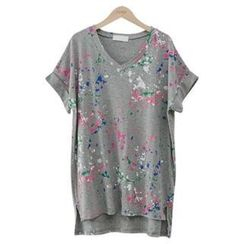 PEPER - V-Neck Paint-Splattered T-Shirt