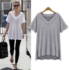 VIZZI - Plain V-Neck Short-Sleeve T-Shirt