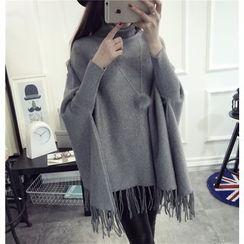 Qimi - Fringed Turtleneck Chunky Sweater