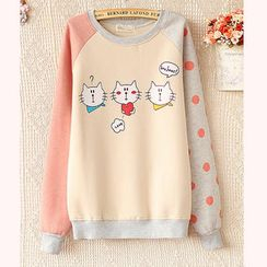 JVL - Color-Block Cat Print Pullover