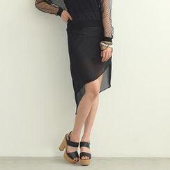 SO Central - Asymmetric Hem Chiffon Pencil Skirt