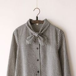 Bonbon - Tie-Neck Gingham Shirt