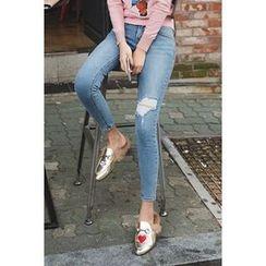 migunstyle - Distressed Skinny Jeans