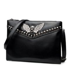 TESU - Skull Studded Clutch with Shoulder Strap