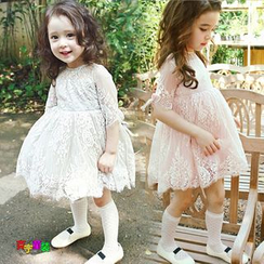 Cuckoo - Kids Tie Cuff Elbow Sleeve Lace Dress