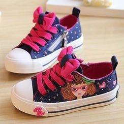 綠豆蛙童鞋 - 彩繪蝴蝶結裝飾帆布休閒鞋