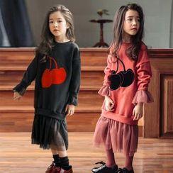 Cuckoo - Kids Cherry Applique Mesh Hem Pullover Dress