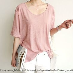NANING9 - Cotton Blend Scoop-Neck T-Shirt