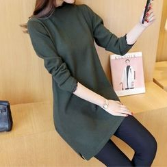 Bubbleknot - Long-Sleeve Asymmetric Knit Dress