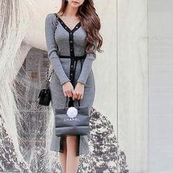Isadora - Long-Sleeve Tie Waist Button Knit Dress