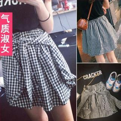 QZ Lady - Tie-Waist Gingham Buttoned Skirt