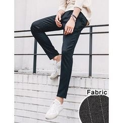 STYLEMAN - Elastic-Waist Striped Dress Pants