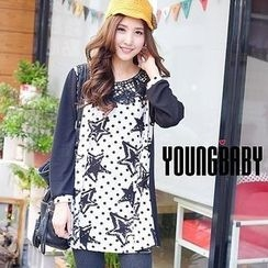 YoungBaby - Long-Sleeve Lace-Appliqué Dotted Top