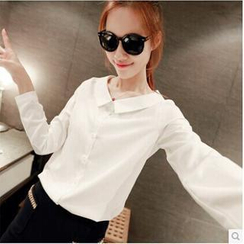 Q.C.T - Long-Sleeve Chiffon Blouse