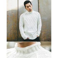 STYLEMAN - Turtle-Neck Raglan-Sleeve Knit Top