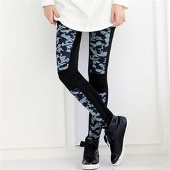 GLAM12 - Camouflage Panel Leggings Pants