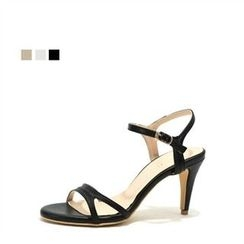 MODELSIS - Genuine Leather Ankle-Strap Stiletto-Heel Sandals