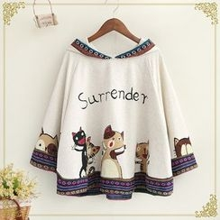 Fairyland - Cat Print Hooded Cape