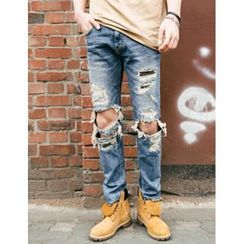 STYLEMAN - Distressed Straight-Cut Jeans