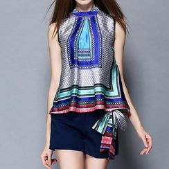 Merald - Set: Sleeveless Patterned Top + Shorts