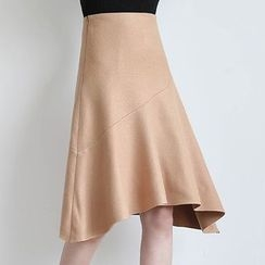 ELLY - Wool Blend Asymmetric Midi Skirt