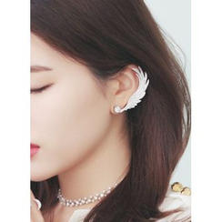kitsch island - Rhinestone Feather Earcuff (Single)