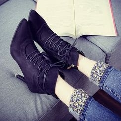QQ Trend - High Heel Lace Up Ankle Boots