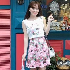MisSweet - Set: Sleeveless Top + Floral A-Line Skirt