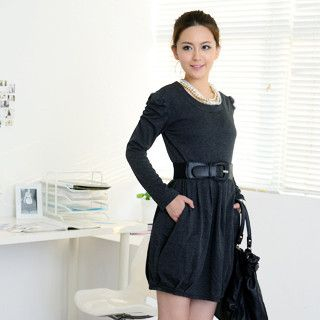 59 Seconds - Ruched Sleeve Pleated Dress (Belt not Included)