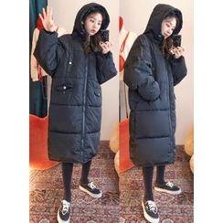 icecream12 - Hood Zip Long Padded Coat