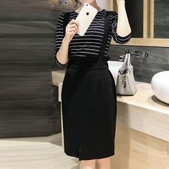 Emeline - Set: Striped T-Shirt + Jumper Skirt