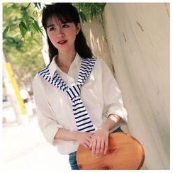 11.STREET - 条纹领带假两件长袖衬衫