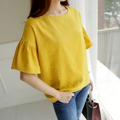 CLICK - Ruffle-Sleeve Linen Blend Top