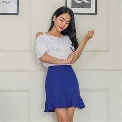 ERANZI - Ruffle-Hem Linen Blend Mini Skirt