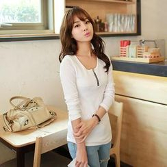 CLICK - Long-Sleeved Zip-Front T-Shirt