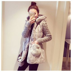 Angel Shine - Knit-Sleeve Hooded Furry Long Jacket